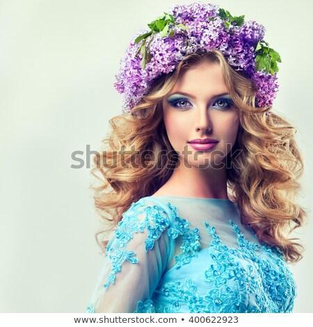 красивая женщина сирень цветок венок девушки весны Сток-фото © ruslanshramko