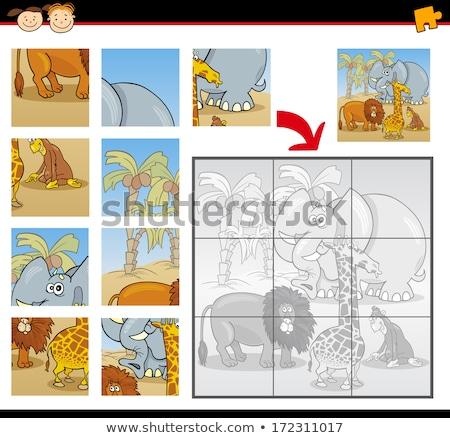 jigsaw puzzle game with elephant animal character Stock photo © izakowski