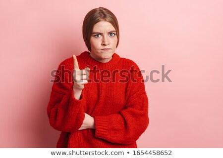 Photo agacé femme pointant doigt regarder Photo stock © deandrobot