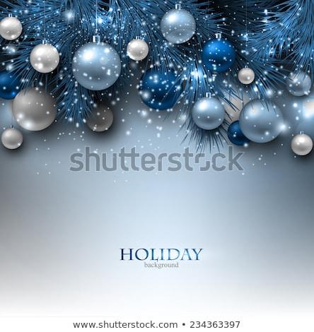 クリスマスツリー 青 装飾された 雪 ストックフォト © Artida