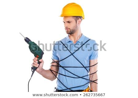 capacete · de · segurança · três · de · um · tipo · mão · madeira - foto stock © photography33
