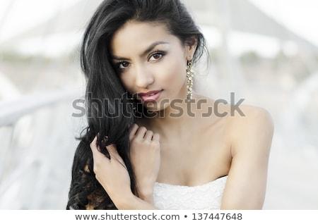 ázsiai indiai barna hajú gyönyörű lány hosszú haj retro Stock fotó © lunamarina