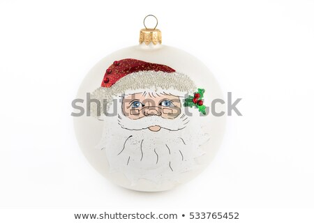 Red, blue and hand painted Christmas  bauble on snow stock photo © calvste