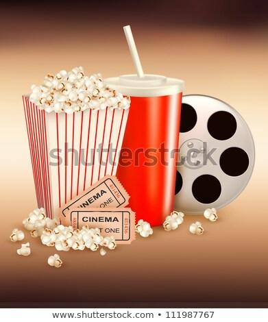 twee · tickets · popcorn · ondiep · film · achtergrond - stockfoto © broker