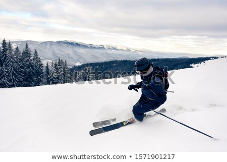 Kayakçı temel adam hızlandırmak Kayak güneş gözlüğü Stok fotoğraf © blamb