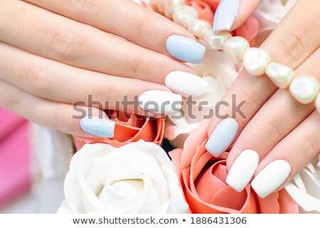 fashion young beautiful woman with bright blue beads stock photo © gromovataya