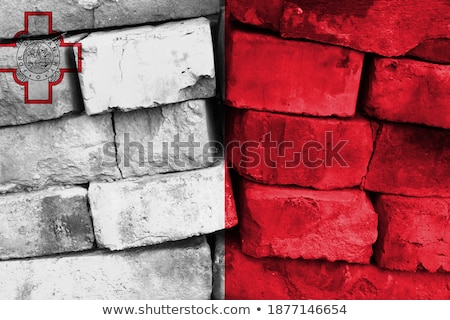 Bandera Malta pared de ladrillo pintado grunge textura Foto stock © creisinger