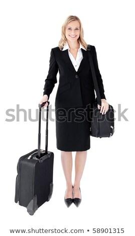 улыбаясь молодые деловая женщина чемодан белый Сток-фото © wavebreak_media