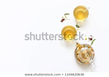 Glas theepot witte geïsoleerd achtergrond kunst Stockfoto © shutswis
