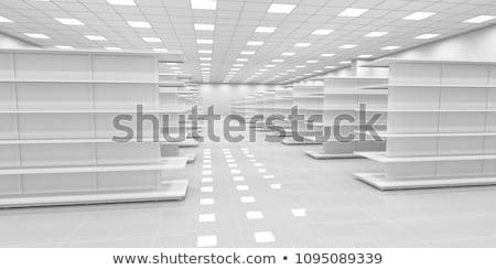 Empty white store interior with showcase Stock photo © maxpro