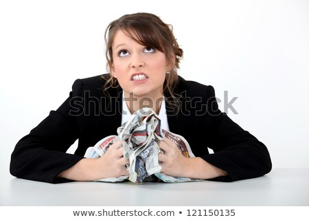 Angry Mature Woman with Crushed Paper in hands  Stock photo © tab62
