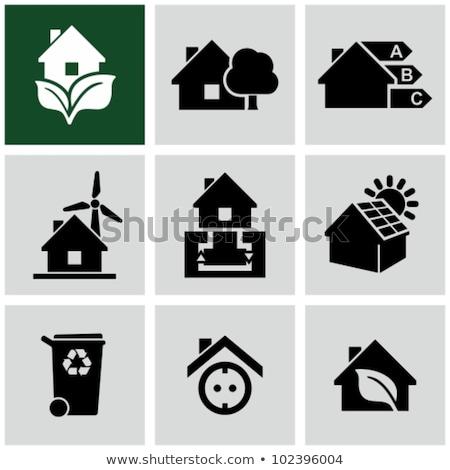 Soyut yeşil ev ikon yaprak Bina Stok fotoğraf © rioillustrator