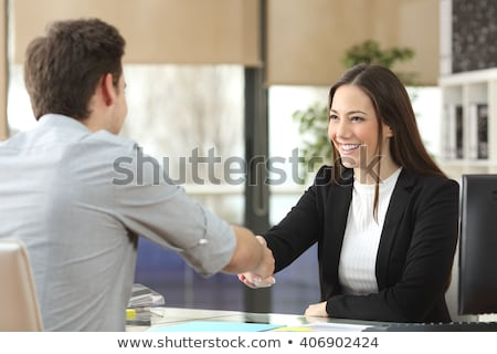 Happy businesswoman is ready to attend meeting Stock photo © stockyimages