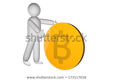 Puppet pushing a big golden bitcoin, 3d render Stock photo © Koufax73