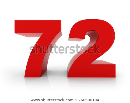 red number 72 with reflection on a white background stock photo © zerbor