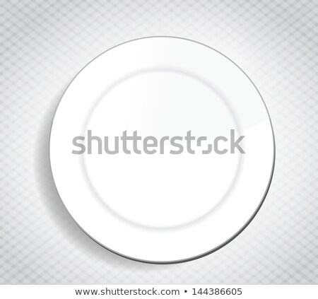 Blank White Dinner Plate Over A Cloth Illustration Сток-фото © alexmillos