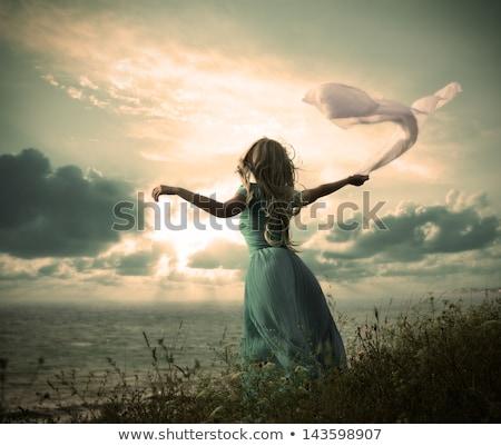 Gyönyörű tánc szőke lány víz divat Stock fotó © Nejron