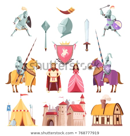 Medieval knight with mace and shield Stock photo © Nejron
