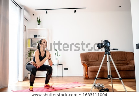 slender fit brunette stock photo © lithian