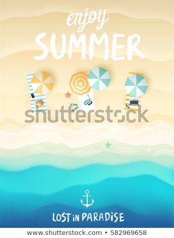 Estate vacanze carta conchiglie legno spazio Foto d'archivio © marimorena