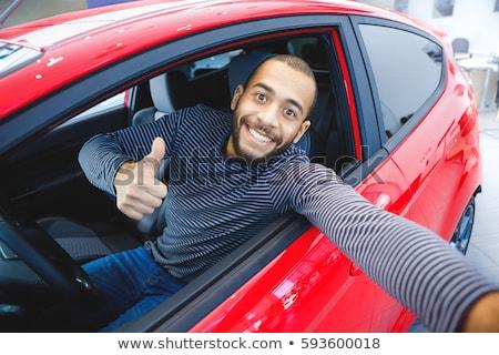 jóképű · fiatal · üzletember · új · autó · ül · üzlet - stock fotó © hasloo