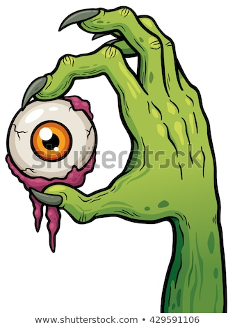 ストックフォト: 漫画 · ゾンビ · 手 · ハロウィン · ポスター · カード