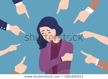 cartoon woman pointing finger of blame Stock photo © lineartestpilot