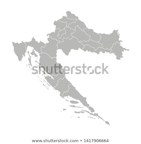 Sziluett térkép Horvátország felirat fehér felirat Stock fotó © mayboro