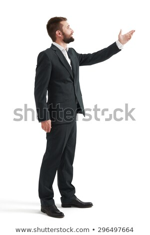 Portret gelukkig man opgeheven handen omhoog Stockfoto © deandrobot
