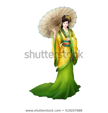 Pretty woman in ancient style dress isolated on white Stock photo © Elnur