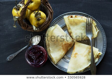 French crepes, jam and apples - sweet breakfast Stock photo © laciatek