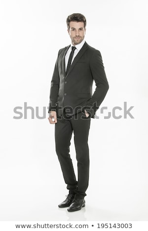 Moda giovani imprenditore abito nero casuale Foto d'archivio © lunamarina
