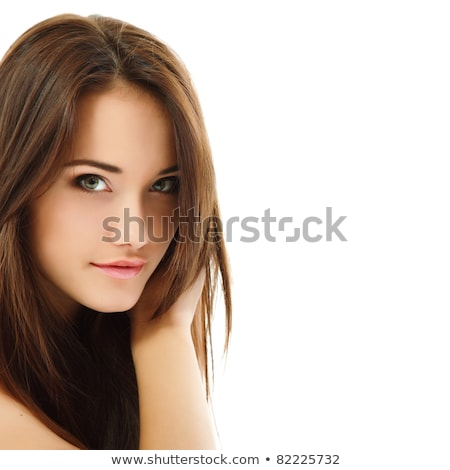 Portrait of cute lovely smiling woman with long brown hair  Stock photo © deandrobot