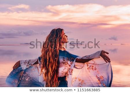 zarif · kadın · genç · kadın · poz · beyaz · mutlu - stok fotoğraf © sapegina