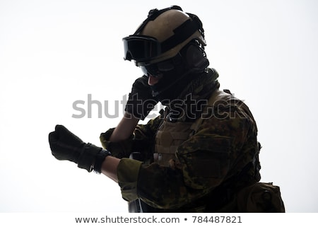 A soldier with a communication tool Stock photo © bluering