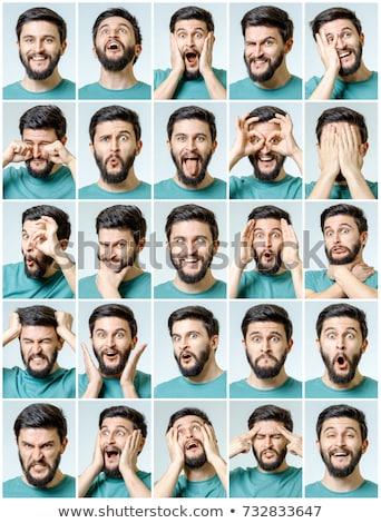 Homem muitos expressões faciais ilustração cara fundo Foto stock © bluering