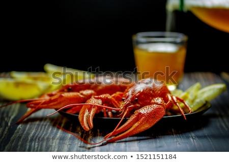еды три красный приготовленный служивший пластина Сток-фото © simply