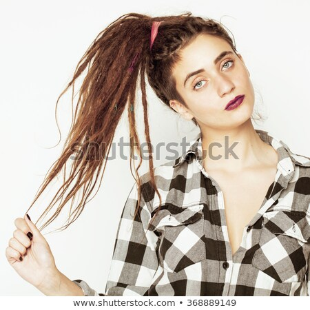 real caucasian woman with dreadlocks hairstyle funny cheerful fa stock photo © iordani