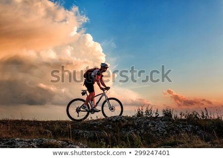 női · motoros · hegyi · kerékpár · vidék · út · nő - stock fotó © wavebreak_media
