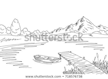 görmek · ahşap · köprü · dağ · nehir · sonbahar - stok fotoğraf © oleksandro