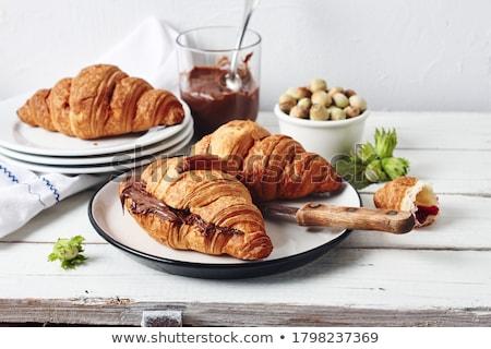 Croissant csokoládé krém fehér reggeli édes Stock fotó © Digifoodstock
