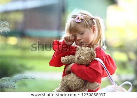 девочку красный белое платье иллюстрация девушки счастливым Сток-фото © bluering