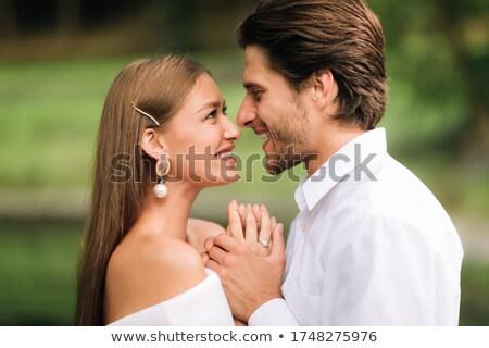 noiva · noivo · em · pé · parque · olhando · mulher - foto stock © wavebreak_media