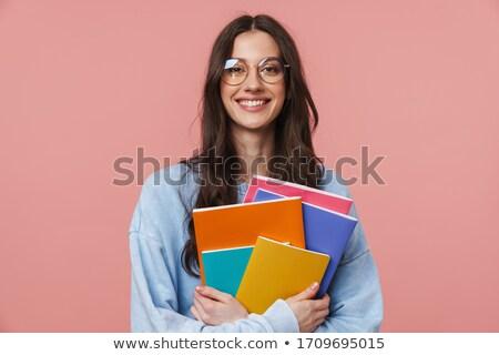笑みを浮かべて ブルネット 女学生 長髪 図書 ストックフォト © deandrobot
