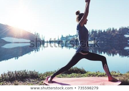 Stock fotó: Nő · meditál · jóga · póz · hegy · tó · női