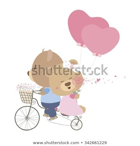 Stockfoto: Liefde · me · teddyberen · vector · hart · teken