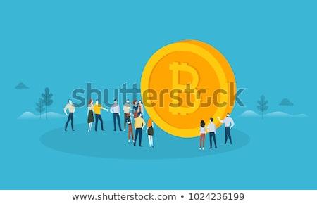 Bitcoin koruma teknoloji simgeler modern bilgisayar Stok fotoğraf © WaD