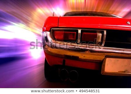 blue retro car moving at night Stock photo © ssuaphoto