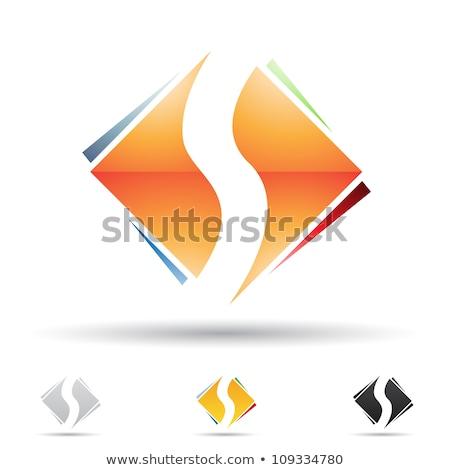 Orange and Black Diamond Shaped Letter S Vector Illustration Stock photo © cidepix
