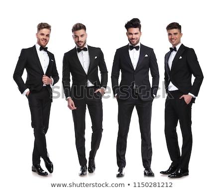elegante · groep · vier · mannen · permanente · handen - stockfoto © feedough